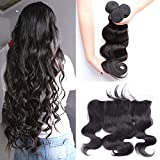 Bundles With Frontal Closure Brazilian Body Wave 3 Bundles With Closure Free Part 13X4 Pre Plucked Lace Frontal With Bundles YISEA Hair(16 18 20with 14, Natural Color) Review