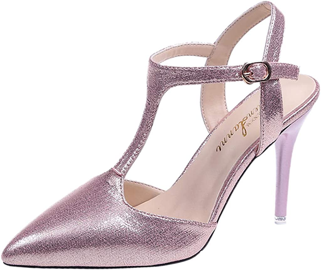 Womens High Heel Shoes,Frunalte Fashion Rome Round Toe Buckle Strap Sandals Thick Heel High Heels Pumps Sandals