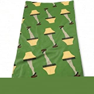 Sdltkhy Christmas Retro Leg Lamp On Green Bath Towels for Bathroom-Hotel-Spa-Kitchen-Set - Circlet Egyptian Cotton - Highly Absorbent Hotel Quality Towels
