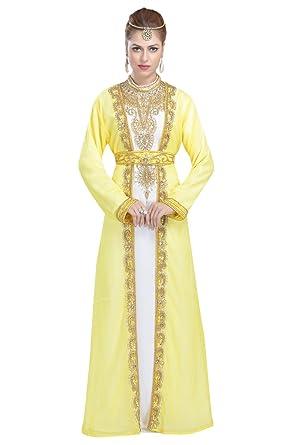 a1dc05638a7 Moroccan Traditional Wear Dubai Kaftan for Arabian Women by Maxim Creation  5972 (5XL) Yellow