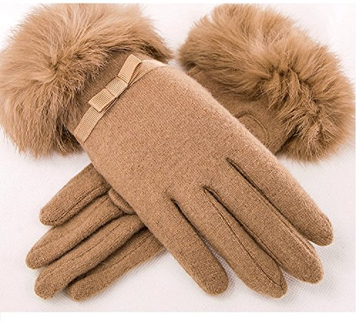 安西送る手つかずのi-select 2015 秋冬 手袋 レディース ラビットファー リアル 暖かい 防寒 グローブ (カーキリボン)