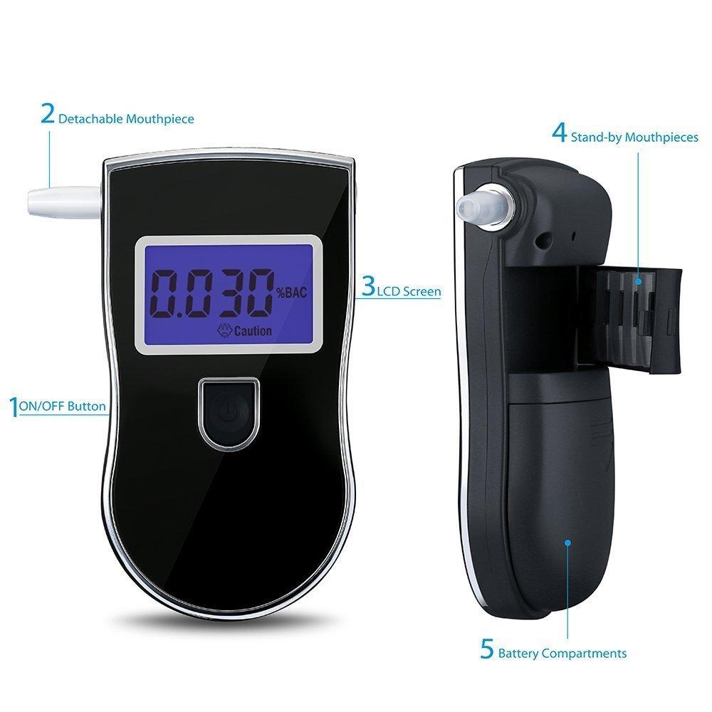 YINGEET Alcohol/ímetro Digital analizador de Aliento con Sensor Digital semiconductor Pantalla LCD luz de Fondo Azul Ideal para Leer de Noche con 5 boquillas Extra