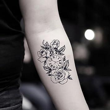 fd871a84a36e0 Amazon.com : Rose Clock Temporary Fake Tattoo Sticker (Set of 2) -  www.ohmytat.com : Beauty