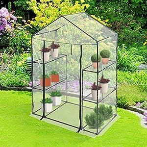 jago serre de balcon terrasse jardin avec tag res b che transparente en pvc structure en fer. Black Bedroom Furniture Sets. Home Design Ideas
