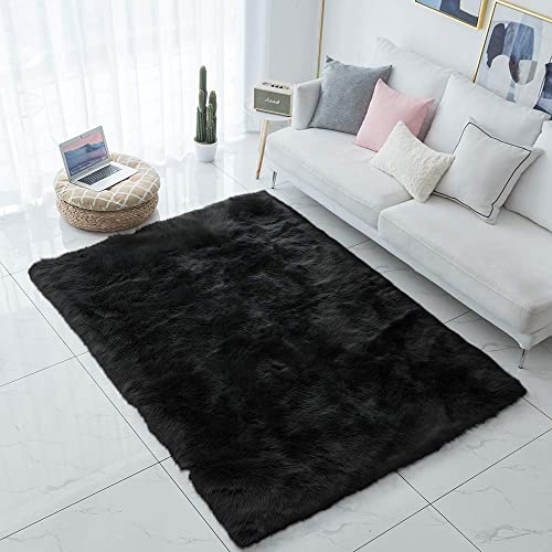 Carvapet Shaggy Soft Faux Sheepskin Fur Area Rugs Floor Mat Luxury Bedside Carpet for Bedroom Living Room, 4ft x 6ft,Black
