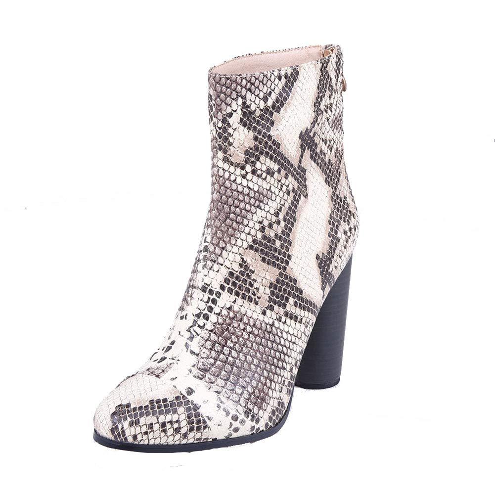 ¥schuhe Damen Stiefel Schlangenhaut Muster Ankle Stiefel High Heels Mit Reißverschluss