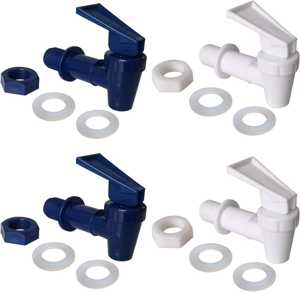Replacement Cooler Faucet 2 White and 2 Blue Water Dispenser Tap Set. BPA Free Plastic Spigot.