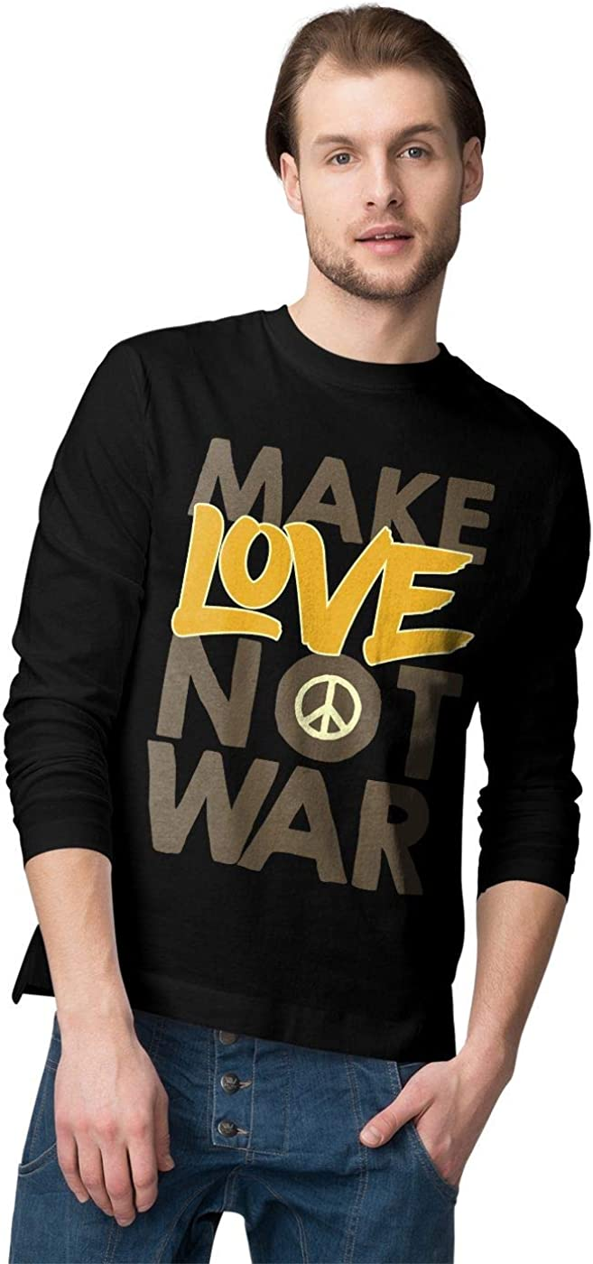 BLAK TEE Hombre Make Love Not War Peace Slogan Graffiti Camisa De Manga Larga
