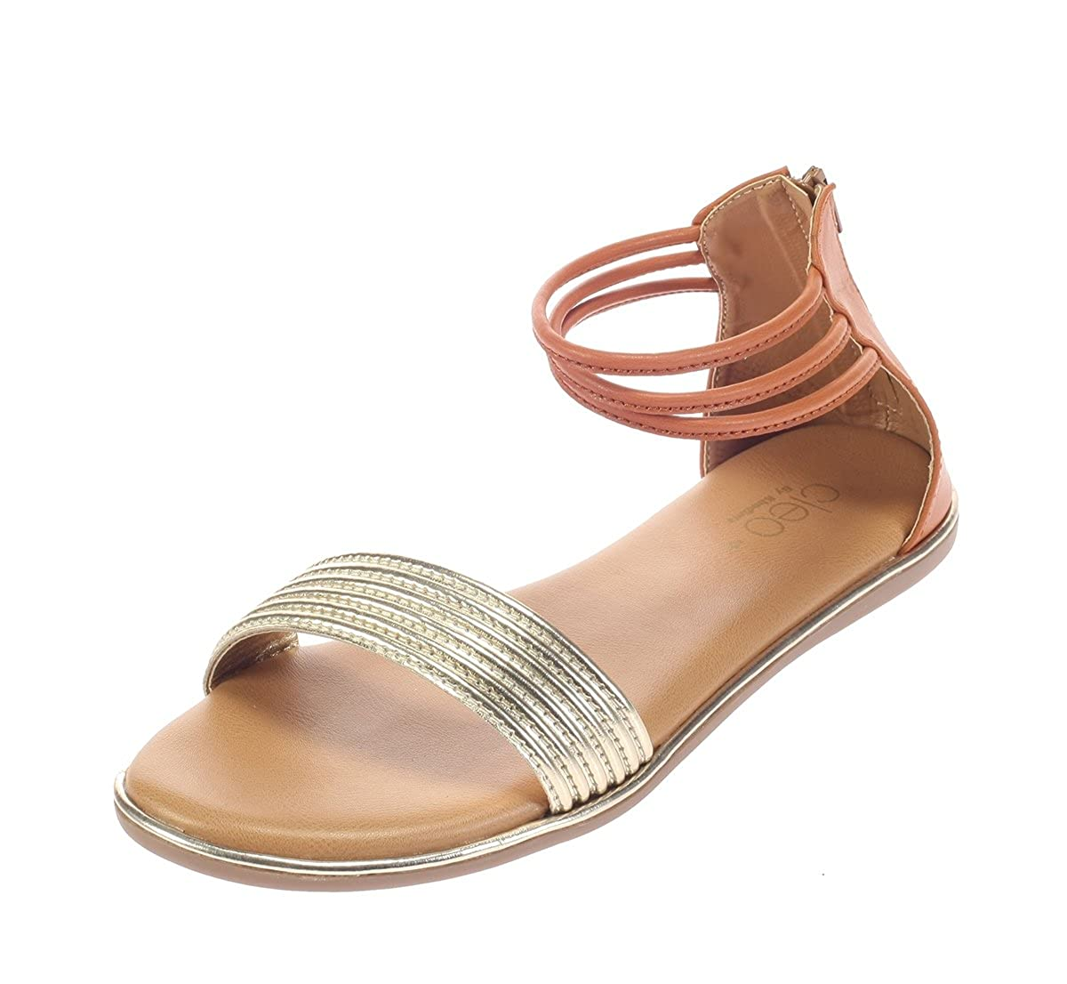9757c184c1c5a Cleo from Khadims Women Gold Faux Leather Sandal