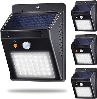 Luz Solar Jardín, Lámpara Solar Exteriors 35LED 500lm 120°Sensor de Movimiento Luces Solares IP65 Impermeable con 3 Modos Inteligentes para Jardín, Patio, Camino, Escalera (4 Pack, Blanco Frio 6000K): Amazon.es: Iluminación