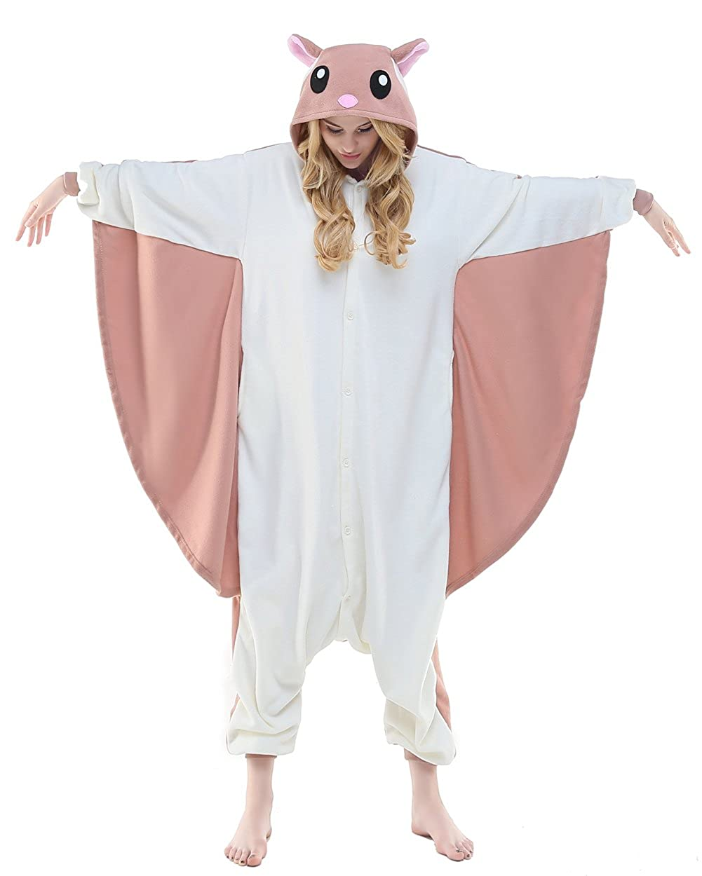 Canasour Unisex Aduit flying Squirrel Pajamas- Plush One Piece Costume