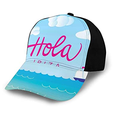 Hip Hop Sun Hat Baseball Cap, Hola Ibiza Lettering Calligraphy ...