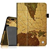 "Fintie Folio Case for Fire HDX 7 - Slim Fit Leather Standing Protective Cover with Auto Sleep/Wake (will only fit Kindle Fire HDX 7"" 2013), Map Brown"