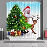 "VANCAR Waterproof Bathroom Decor Custom Xmas Merry Christmas Shower Curtain Sets with Hooks 66""X72"" Father Christmas Santa Claus Reindeer Tree Gifts Presents Pattern Print"