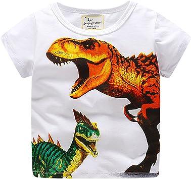 feiXIANG Ropa para bebés recién Nacidos Ropa para bebés y bebés Camiseta Estampada Dinosaurio con Estampado de Dinosaurios para niños pequeños Camiseta de Manga Corta: Amazon.es: Electrónica