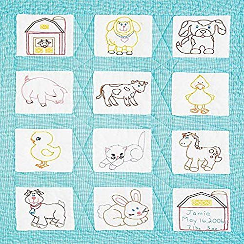 Jack Dempsey Stamped White Nursery Quilt Blocks 9quotX9quot 12/pkg Barnyard Friends