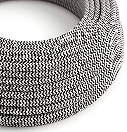 Design C/âble /électrique rond Rond recouvert de tissu color/é Noir 3/x 0,75/pour lustres lampes Fabriqu/é en Italie. abat jour