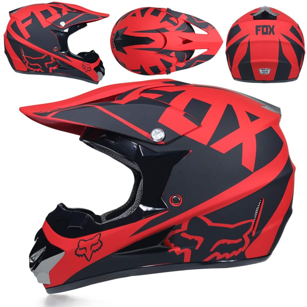 TGSXH Adult Motocross Helmet D.o.t Red Fox Full Face Helmet Motorcycle Off-road Scooter ATV Helmet With Goggles//Mask//Gloves S, M, L, XL