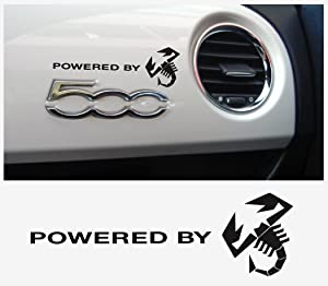 FIAT 500 Powered by Abarth Dashboard Decal Scorpion 2pcs. Set (Black)
