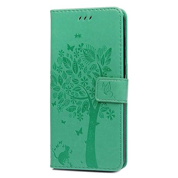 Amazon.com: MOTO G7 Plus Case Floral Tree Cute Cat Wallet ...
