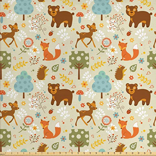 Lunarable Woodland Fabric by The Yard, Animals of The Woods in Pastel Colors Cheerful Bear Hedgehog Gazelle Fox Ladybug, Decorative Fabric for Upholstery and Home Accents, 1 Yard, Multicolor