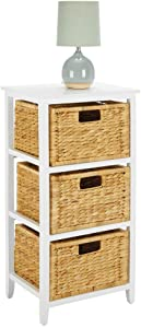 mDesign Side End Table Storage Nightstand - Sturdy Wood Frame, Water Hyacinth Woven Pull Out Basket Bins - Furniture Unit for Living Room, Bedroom, Hallway, Entryway, 3 Drawer - White/Bamboo