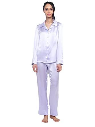MYK 100% Mulberry Silk Classic Two Piece Pajama Set Button Down Long Length  for Women 45ea80360