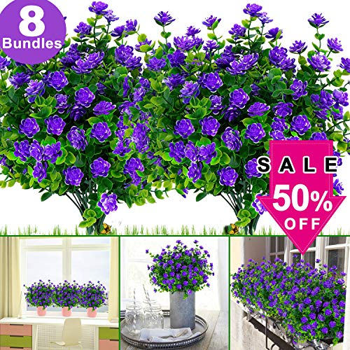 8 Bundles Artificial Flowers, Fake Outdoor UV Resistant Faux Plastic Greenery Shrubs Plants Decor for Outside Hanging Planter Wedding Home Office Garden July 15-16(Purple)