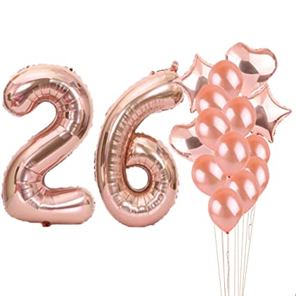 26th Birthday Decorations Party Supplies26th Balloons Rose GoldNumber 26 Mylar Balloon