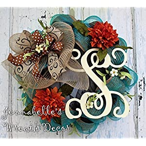 Fall Wreath - Mesh Wreath - Burlap Wreath - Monogrammed Door Wreath - Fall Door Wreath 40