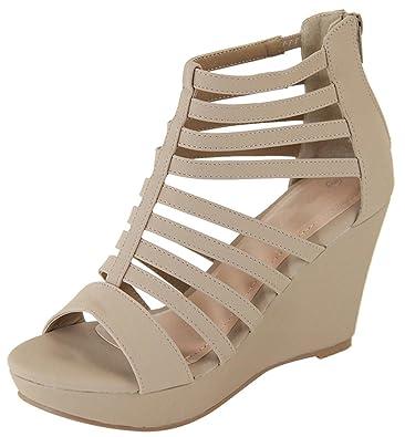 Women's Open Toe Strappy Caged Geometric Cutout Gladiator Platform Wedge Sandal