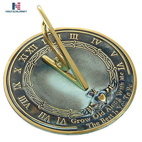 Brass Happiness Sundial - NAUTICALMART Brass Sundial Grow Old with Me - Gift