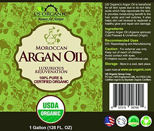 US Organic Moroccan Argan Oil, USDA Certified Organic,100% Pure & Natural, Cold Pressed Virgin, Unrefined, Origin_Morocco (1 Gallon (128 oz)) by US Organic (Image #1)