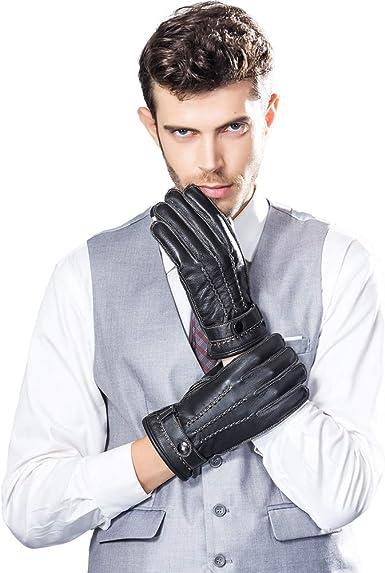 Grey Sheepskin leather driving gloves for men