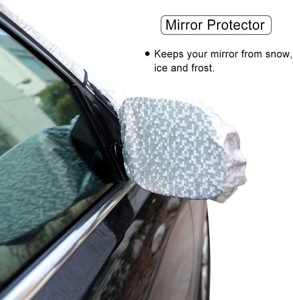 Truck Car Windshield Snow Frost Ice Cover Sunshade Covers with Magnet Edges Winter Cold Weather Car Wiper Mirror Protector Universal Fits Most Car SUV