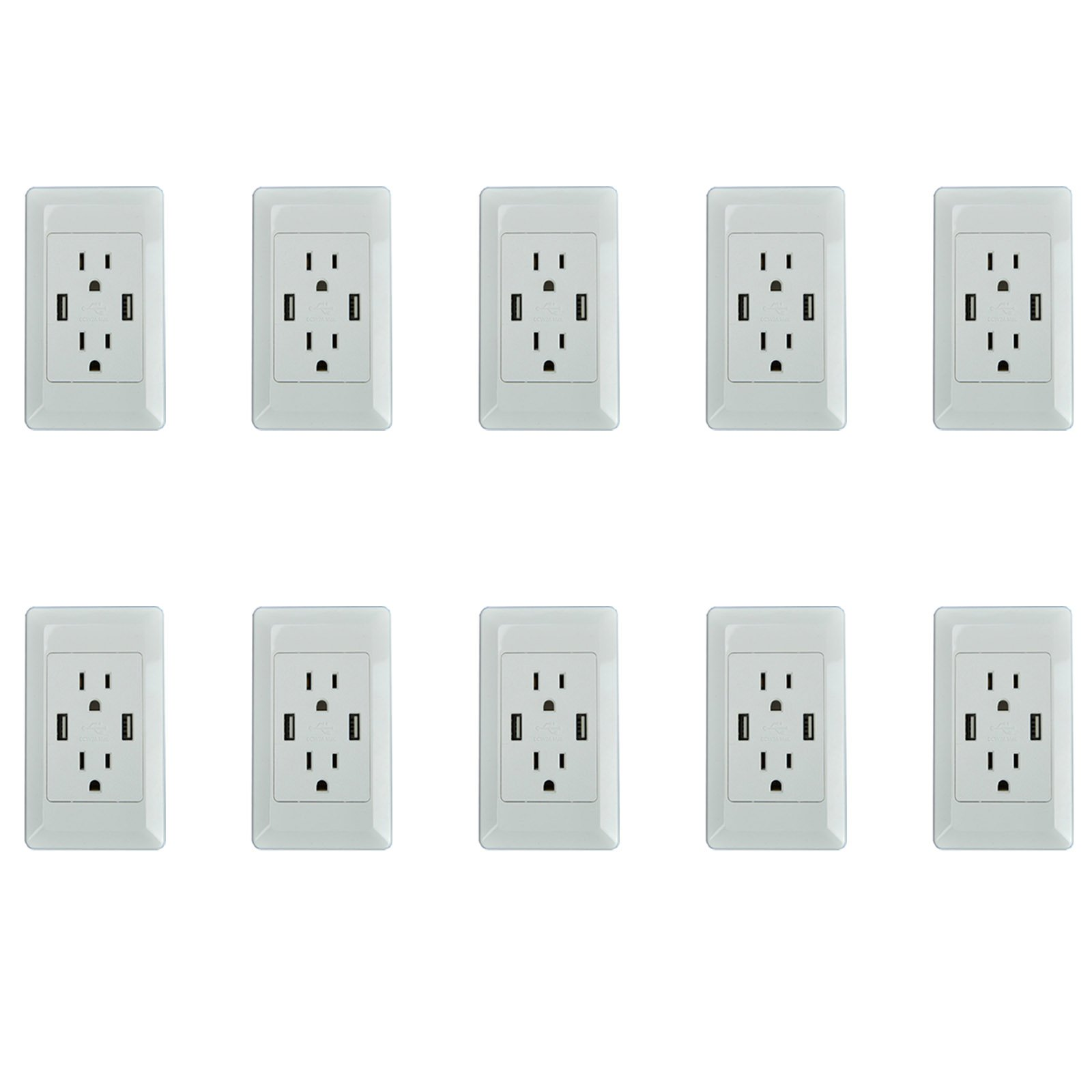 10 PK Dual USB Port Electric Wall Charger Power Outlet Panel Plate Dock Station Socket by greencycle