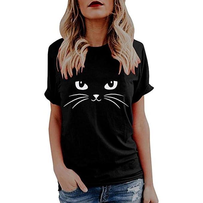 f739b14278 💋 Maglietta da Donna di Gatto Sveglio Elegante💋 feiXIANG ® T-Shirt da  Donna Camicetta di Stampa Maglia Manica Corte Donne Tops Sciolto Donna ...