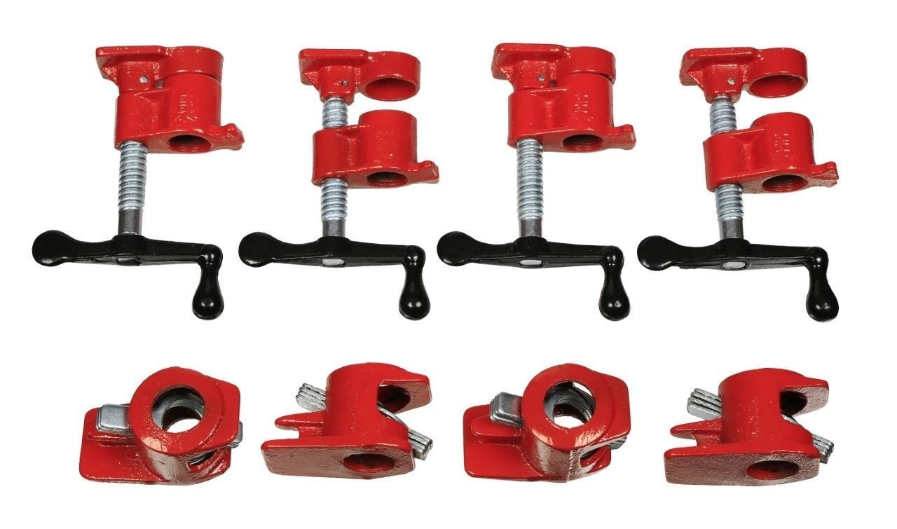 ( 4 Pack ) 3/4'' Wood Gluing Pipe Clamp Set Heavy Duty PRO Woodworking Cast Iron