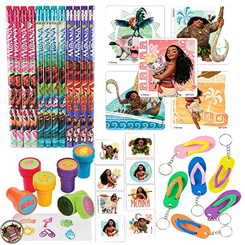 Top Another Dream Disney Moana Party Favor Pack Supplies Themed Pack includes Pencils, Stickers, Stampers, Tattoos, and Keychains! for cheap