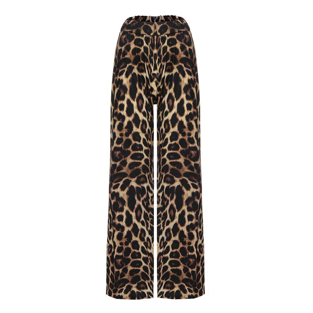 Zalanala Womens Leopard Print High Waist Long Pants Relaxed-Fit Wide Leg Pants