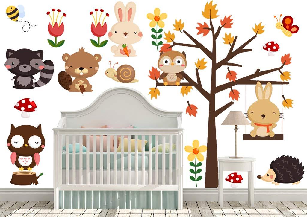 DEKOSH Kids Woodland Tree Nursery Wall Decals | Colorful Jungle Theme Peel & Stick Safari Animal Wall Stickers of Owl Rabbit for Baby Playroom Decor