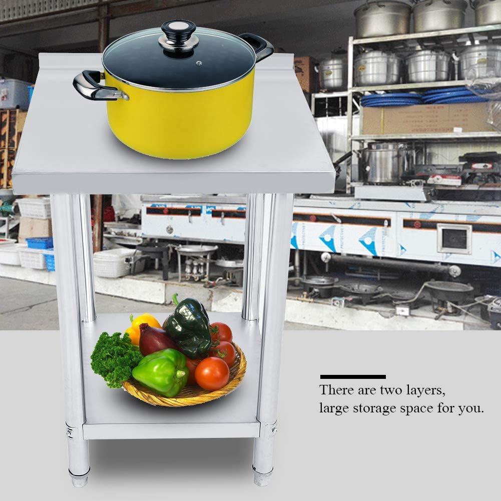 Banc de travail de cuisine en acier inoxydable avec bord professionnel double couche hauteur r/églable Catering Table de travail pour fournitures de cuisine et op/érations industrielles 3x2FT=91X61CM