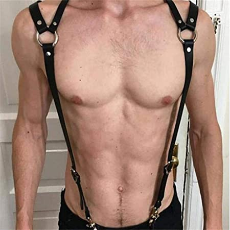 Carinloing Leather Chest Body Harness Belt Adjustable Buckle Strapswith Metal Chain Club Costume for Men