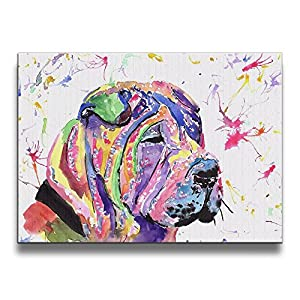 Mout-store Art Shar Pei 16/20 Inch (A Frameless) Decorative Artwork Abstract Oil Paintings On Canvas Wall Art Ready To Hang For Home Decoration Wall Decor