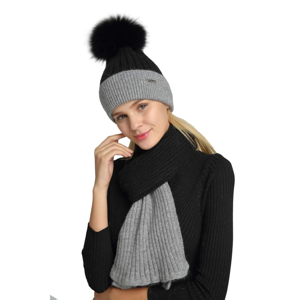 Pilipala Women s Cashmere Beanie Hat and Scarf Set with Fur Pompom  BlackGraySetB VC18601 at Amazon Women s Clothing store  4aac27a91f