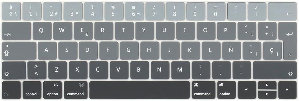 Batianda española Cubierta del Teclado/Keyboard Cover para Nuevo MacBook Pro 13 15 con Touch Bar (Modelo:A1706/A1707) Silicone Skin(Gris Gradual)