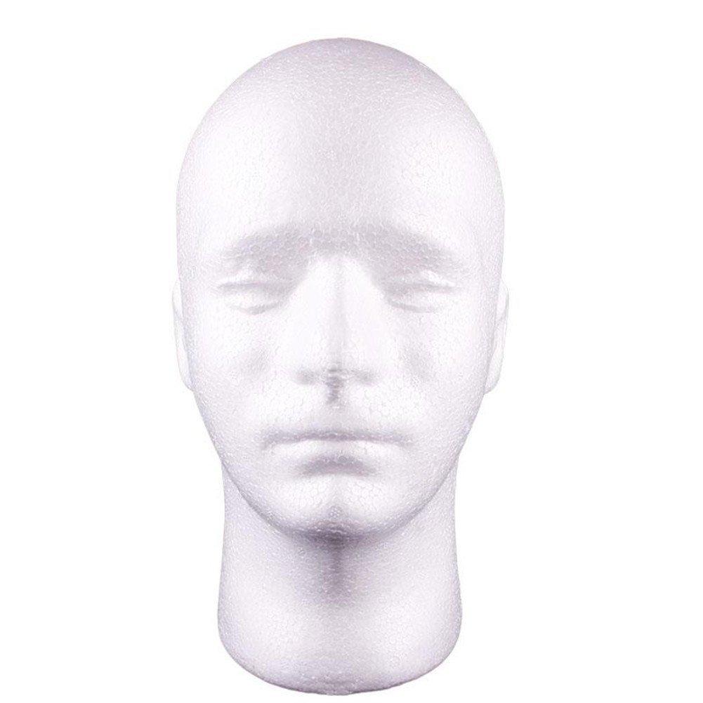 Gemini_mall® Man Styrofoam Head Mask Stand Model Display Wig Hats Holder Foam Mannequin White