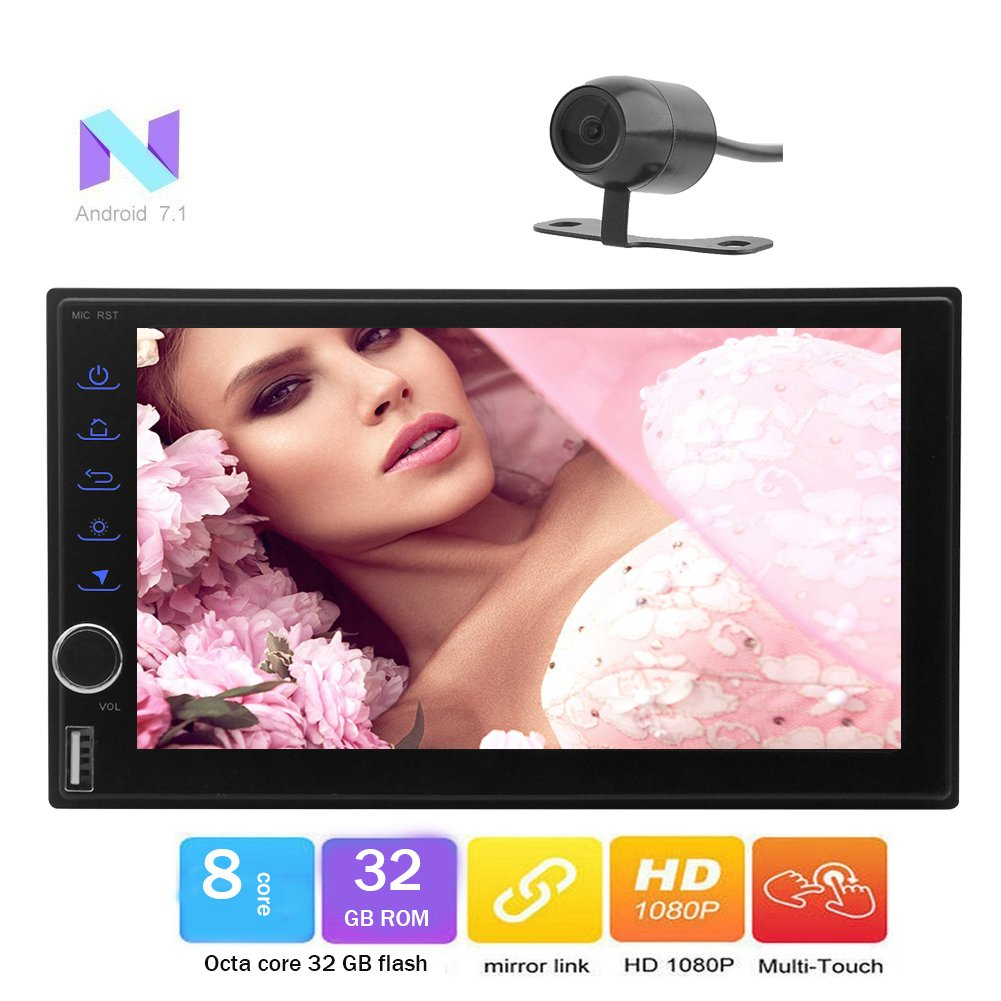 Android 7.1 Nougat OS OCTA Core 2GB+32GB Universal 2 Din 7 Car Stereo GPS Sat Navi Autoradio Support Bluetooth/WIFI/SWC/Mirror Link/DVR/CAM-IN/USB SD/Multi Language/DAB+/OBD2(Free Rear Camera) by Eincar B075YG6MKW
