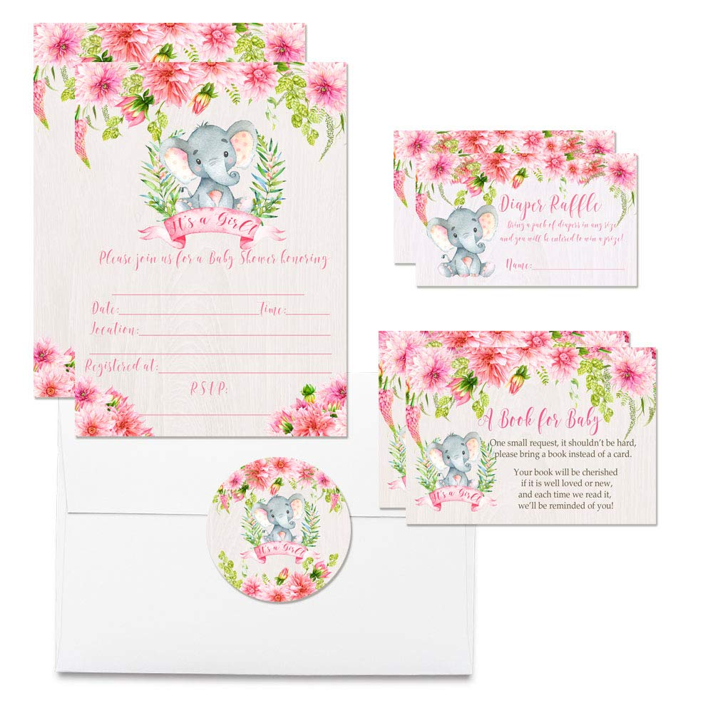 Deluxe Watercolor Floral Elephant Baby Shower Party Bundle for Girls, Includes 20 each of 5''x7'' Fill In Invitations, Diaper Raffle Tickets, Bring a Book Cards, 2'' Thank You Favor Stickers w/ Envelopes by Amanda Creation (Image #1)