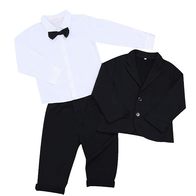 IEFIEL Conjunto de Tres Piezas para Bebé Niño (6 Meses-5 Años) Camisa de Manga Larga + Chaqueta + Pantalones Traje de Bautizo Fiesta Boda Ceremonia